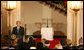 President George W. Bush delivers remarks during the lighting of the Menorah Monday, Dec. 15, 2008, in the Grand Foyer of the White House. This year's Menorah, currently housed at the Harry S. Truman Presidential Library in Independence, Mo., was a gift from Israel's first Prime Minister David Ben-Gurion to the U.S. President on May 7, 1951 - President Truman's birthday - to personally thank him for his important, and then-controversial recognition of Israel's independence three years prior. White House photo by Shealah Craighead