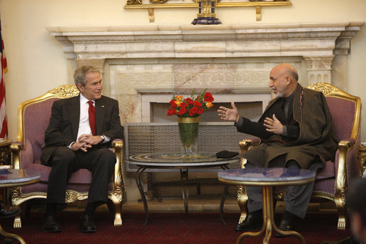 President George W. Bush meets with Afghanistan's President Hamid Karzai Monday, Dec. 15, 2008, at the presidential palace in Kabul. White House photo by Eric Draper