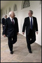 President Bush and VP Cheney walk through the Colonnade en route to motorcade to Pentagon Memorial Ceremony Sept. 11, 2008, on the anniversary of the attack on America. White House photo by David Bohrer