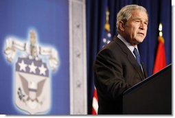 President George W. Bush addresses his remarks on national security, homeland security and the Freedom Agenda Wednesday, Dec. 17, 2008, at the U.S. Army War College in Carlisle, Pa. White House photo by Chris Greenberg