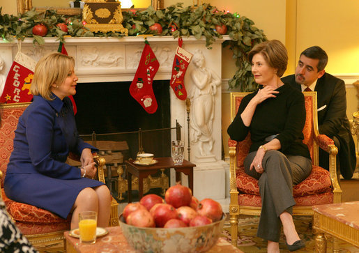 Mrs. Laura Bush meets Tuesday, Dec. 16, 2008, with Mrs. Ana Ligia Mixco Sol de Saca, wife of El Salvador's President Elias Antonio Saca, during Mrs. Saca's visit to the White House Residence. White House photo by Shealah Craighead