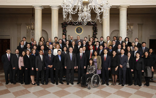 President George W. Bush stands with recipients of the 2007 Presidential Early Career Awards for Scientists and Engineers Friday, Dec. 19, 2008, in the Grand Foyer of the White House. White House photo by Chris Greenberg