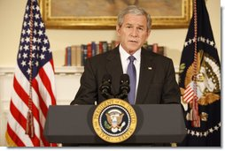 "President George W. Bush delivers a statement regarding the automobile industry Friday, Dec. 19, 2008, from the Roosevelt Room of the White House. Said the President, ""Today, I'm announcing that the federal government will grant loans to auto companies under conditions similar to those Congress considered last week. By giving the auto companies a chance to restructure, we will shield the American people from a harsh economic blow at a vulnerable time. And we will give American workers an opportunity to show the world once again they can meet challenges with ingenuity and determination, and bounce back from tough times, and emerge stronger than before."" White House photo by Chris Greenberg"