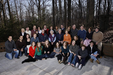 President George W. Bush and family gather at Camp David on Christmas, Thursday, Dec. 25, 2008. Seated front row, Lauren Bush, Ashley Bush, Ellie LeBlond, Gigi Koch, Elizabeth Andrews, Marshall Bush, Pace Andrews, Walker Bush. Second row, John E. Bush, George P. Bush, Barbara Bush, Pierce Bush, former President George H.W. Bush, former First Lady Barbara Bush, President George W. Bush, First Lady Laura Bush, Jenna Hager, Top row, Mandi Bush, Sam LeBlond, Neil Bush, Ally Bush, Maria Bush, Bobby Koch, Doro Koch, Margaret Bush, Marvin Bush, Columba Bush, former Gov. Jeb Bush, Henry Hager, Noelle Bush, and Robert Koch. White House photo by Eric Draper