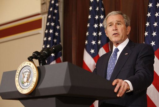 "President George W. Bush delivers remarks on Conservation and the Environment Tuesday, Jan. 6, 2009, at the Dwight D. Eisenhower Executive Office Building in Washington, D.C. Said the President, ""We have pioneered a new model of cooperative conservation in which government and private citizens and environmental advocates work together to achieve common goals. And while there's a lot more work to be done, we have done our part to leave behind a cleaner and healthier and better world for those who follow us on this Earth."" White House photo by Chris Greenberg"