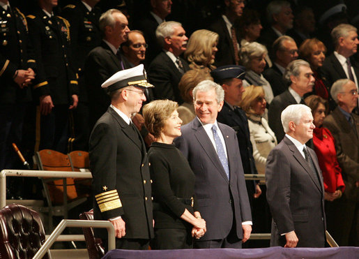 President George W. Bush and Mrs. Laura Bush participate in a military appreciation Tuesday, Jan. 6, 2009, at Ft. Myer, Va., in honor of the President's tenure as Commander-in-Chief. The First Couple was honored for their outstanding public service by the Department of Defense. White House photo by Joyce N. Boghosian