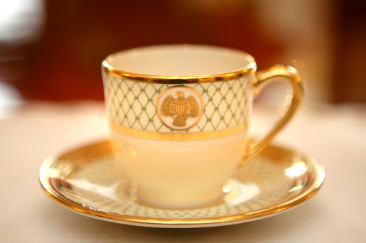 A cup from the George W. Bush State China shows the traditional eagle and the green basket-weave detail that are characteristic of the George W. Bush china unveiled by Mrs. Laura Bush, Wednesday, Jan. 7, 2009 in the Family Dining Room on the State Floor of the White House. The George W. Bush State China was inspired by a Madison-era dinner service. There are 320 place settings of the china with 14 pieces per setting. Although most Americans may use their special service a few times a year, on some days the White House may use the China services several times. White House photo by Shealah Craighead