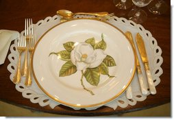 The Magnolia Residence China was unveiled Wednesday, Jan. 7, 2009, by Mrs. Laura Bush at the White House with plates whose magnolia decoration give the china it's name. Other pieces show a varied and detailed pattern from nature. There are 75 place settings of the service which were purchased by the White House Historical Association through the George W. Bush Redecoration Fund. This new china, by Pickard China of Antioch, Ill., was designed in Virginia and hand painted in Hungary. White House photo by Shealah Craighead