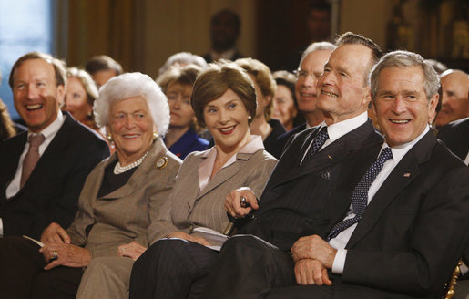 President George W. Bush and Mrs. Laura Bush are joined by his parents, former President George H. W. Bush and Mrs. Barbara Bush, during a reception in the East Room at the White House Wednesday, Jan. 7, 2009, in honor of the Points of Light Institute. President Bush's brother Neil is seen at far-left. White House photo by Eric Draper