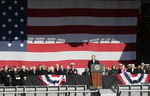 President George W. Bush addresses his remarks in honor of his father, former President George H. W. Bush, at the commissioning ceremony of the USS George H. W. Bush (CVN 77) aircraft carrier Saturday, Jan 10, 2009 in Norfolk, Va. White House photo by Joyce N. Boghosian