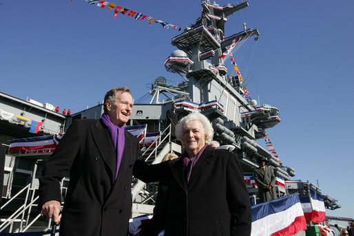 Former President George H. W. Bush and Mrs. Barbara Bush prepare to leave the USS George H. W. Bush (CVN 77) aircraft carrier Saturday, Jan 10, 2009 in Norfolk, Va., following the commissioning ceremony for the ship named in his honor. White House photo by Joyce N. Boghosian