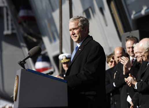 President George W. Bush addresses his remarks in honor of his father, former President George H. W. Bush, at the commissioning ceremony of the USS George H.W. Bush (CVN 77) aircraft carrier Saturday, Jan 10, 2009 in Norfolk, Va. White House photo by Eric Draper