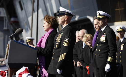 "Mrs. Doro Bush Koch addresses her remarks and ""brings the ship to life,"" prompting sailors to come aboard, during the commissioning ceremony of the USS George H. W. Bush (CVN 77) aircraft carrier Saturday, Jan 10, 2009 in Norfolk, Va., named in honor of her father, former President George H. W. Bush. White House photo by Eric Draper"