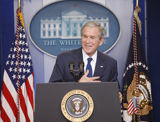 President George W. Bush responds to questions Monday, Jan. 12, 2009, during his final press conference in the James S. Brady Press Briefing Room of the White House. White House photo by Chris Greenberg