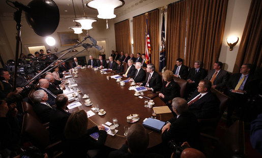 President George W. Bush speaks to reporters during the last meeting with members of his Cabinet Tuesday, Jan. 13, 2009, in the Cabinet Room of the White House, where President Bush thanked members of the Cabinet for their service and for helping with the President-Elect Obama transition. White House photo by Eric Draper