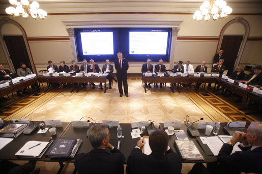 White House chief of staff Josh Bolten welcomes senior officials from the Bush Administration and the incoming Obama Administration to the principal level homeland exercise on Tuesday, Jan. 13, 2009, at the Eisenhower Executive Office Building in Washington, D.C. The exercise provided an opportunity for officials to discuss incident management practices and continuity of government procedures. White House photo by Eric Draper