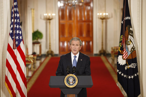President George W. Bush delivers his farewell address to the nation Thursday evening, Jan. 15, 2009, from the East Room of the White House, thanking the American people for their support and trust. White House photo by Chris Greenberg