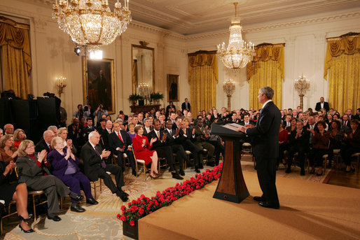 President George W. Bush is applauded during his farewell address to the nation Thursday evening, Jan. 15, 2009, from the East Room of the White House, where President Bush said it has been a privilege to serve the American people. White House photo by Joyce N. Boghosian