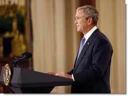 "President George W. Bush delivers his farewell address to the nation Thursday evening, Jan. 15, 2009, from the East Room of the White House. President Bush stated in his remarks, ""We have faced danger and trial, and there's more ahead. But with the courage of our people and confidence in our ideals, this great nation will never tire, never falter, and never fail."" White House photo by Eric Draper"
