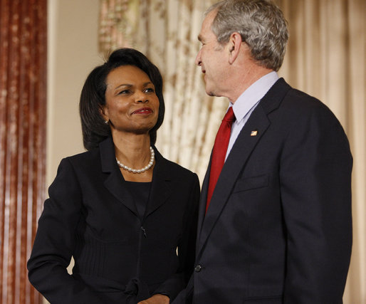 President George W. Bush is introduced by U.S. Secretary of State Condoleezza Rice at the U.S. Department of State Thursday, Jan. 15, 2009, during a ceremony commemorating foreign policy achievements. White House photo by Eric Draper