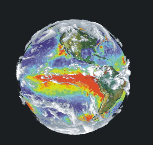 Composite satellite photo of the earth with views of North and South America and red and yellow sections showing warm sea-surface temperatures.