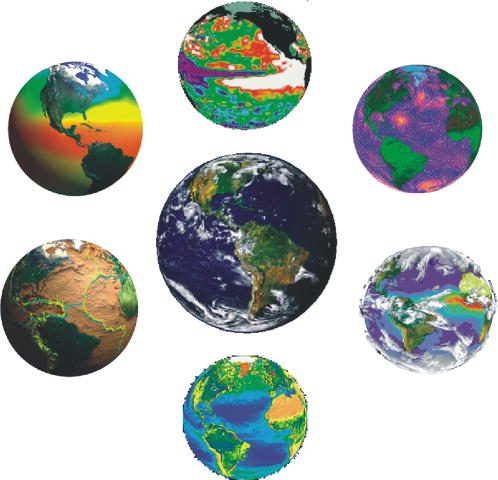 This photo shows a picture of the Earth surrounded by six other pictures of the Earth taken using data from different remote sensing satellites.