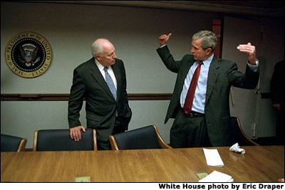 Upon returning to the White House from Offitt Air Force Base, President Bush and Vice President Cheney discuss the attacks on America while secure inside the operations center under the White House. White House photo by Eric Draper.