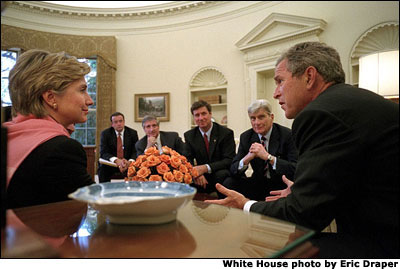As her state recovers from Tuesday's attacks, New York Senator Hillary Clinton and other members of congress meet with President Bush in the Oval Office. White House photo by Eric Draper.