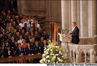 During the newly proclaimed National Day of Prayer and Remembrance, President Bush addresses the congregation at the National Cathedral in Washington, D.C. Sept. 13. White House photo by Moreen Ishikawa.