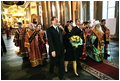 President Bush and Mrs. Bush visit Kazan Cathedral in St. Petersburg May 26.