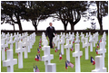 President Bush visits the American cemetery near Omaha Beach at Normandy, France, May 27.