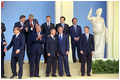 President Bush and President Putin talk during a group photo session of European leaders in Rome May 28.