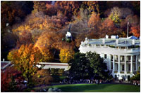 The fall foliage is in full view as Marine One departs the South Lawn. The Southern Magnolias to the left of the South Portico were planted by President Andrew Jackson. White House photo by Paul Morse.