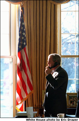President Bush in the Oval Office, White House photo by Eric Draper.