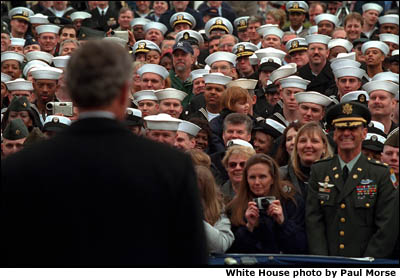 Crowd of Naval Officers attend President's remarks. White House photo by Paul Morse.