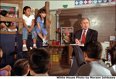 President Bush visits with a second-grade class at Griegos Elementary School in Albuquerque, N.M, Aug. 15. White House photo by Moreen Ishikawa.