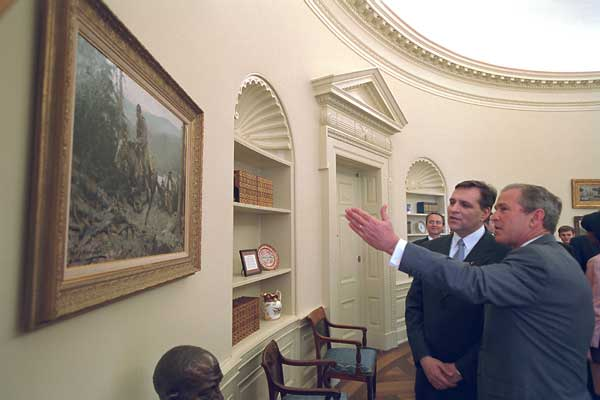 President George W. Bush has selected several paintings depicting Texas scenes by Texas artists for his office. Many are on loan from museums in San Antonio and El Paso. White House photo by Eric Draper.