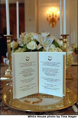 Penned by hand in English and Spanish, the menu for President Bush's first State Dinner accompanied each place setting. White House photo by Tina Hager.