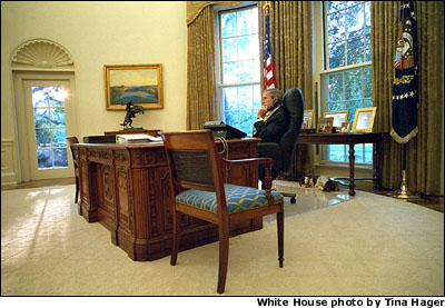 President Bush speaks with Austrailian Prime Minister John Howard from the Oval Office Sept. 28. The day before the terrorist attacks, President Bush and Prime Minister Howard Commemorated 50 years of military alliance at the Navy Yard in Washington, D.C.