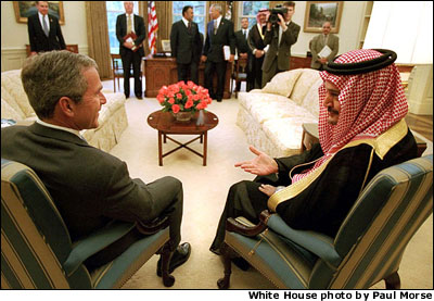 President Bush meets with Saudi Arabia's Foreign Minister Prince Saud al-Faisal in the Oval Office Sept. 20.