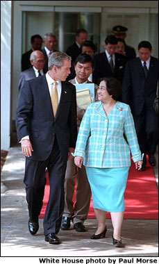 Leaders of the world's second and third largest democracies, President Bush and Indonesian President Megawati Sukarnoputri vowed to open a new era of bilateral cooperation after meeting at the White House Sept. 19. WHITE HOUSE PHOTO BY PAUL MORSE