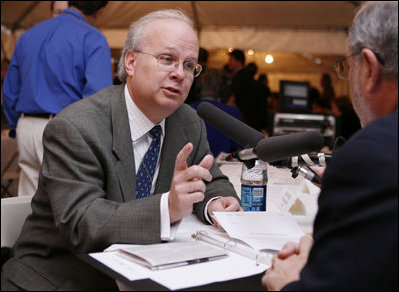 Karl Rove, Assistant to the President, Deputy Chief of Staff and Senior Advisor, gestures as he talks with radio host Robert Siegel of National Public Radio during the White House Radio Day event Tuesday, Oct. 24, 2006 in Washington, D.C.