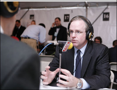 Dan Bartlett, Counselor to the President, participates in an interview with a radio journalist during the White House Radio Day Tuesday, Oct. 24, 2006.
