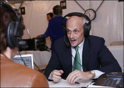 Michael Chertoff, Secretary of the Department of Homeland Security, participates in an interview with a radio journalist during the White House Radio Day Tuesday, Oct. 24, 2006.