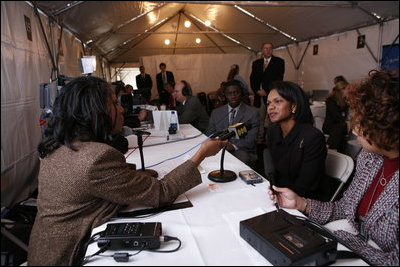 U.S. Secretary of State Condoleezza Rice is interviewed by radio journalists during White House Radio Day Tuesday, Oct. 24, 2006 in Washington, D.C.