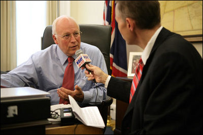 Vice President Dick Cheney is interviewed by Scott Hennen, host of the Hot Talk radio program on WDAY AM 970 in Fargo, N.D., during the White House Radio Day, Tuesday, October 24, 2006.