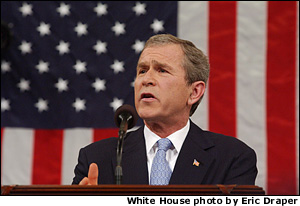 President George W. Bush delivers the State of the Union address before a joint session of congress at the Capitol, Tuesday, Jan 29, 2002.