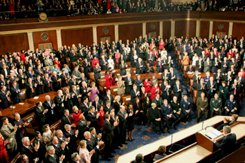 President George W. Bush receives a standing ovation during his State of the Union Address at the U.S. Capitol, Wednesday, Feb. 2, 2005. White House photo by Susan Sterner.
