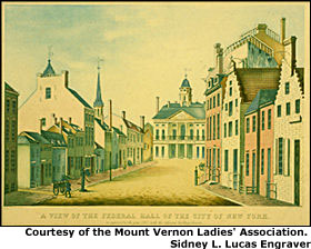 George Washington rode on a carriage driven by six horses from his house on Cherry Street to Federal Hall in New York to give his deliver his first annual message in person. Courtesy of the Mount Vernon Ladies' Association. Sidney L. Lucas Engraver.