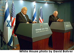 "Israel's Prime Minister Ariel Sharon and Vice President Dick Cheney discuss a vision of peace for Israel and Palestine as they conduct a press briefing in Jerusalem, Israel, March 19. ""It is our hope that the current violence and terrorism will be replaced by reconciliation and the rebuilding of mutual trust,"" said the Vice President. White House photo by David Bohrer"